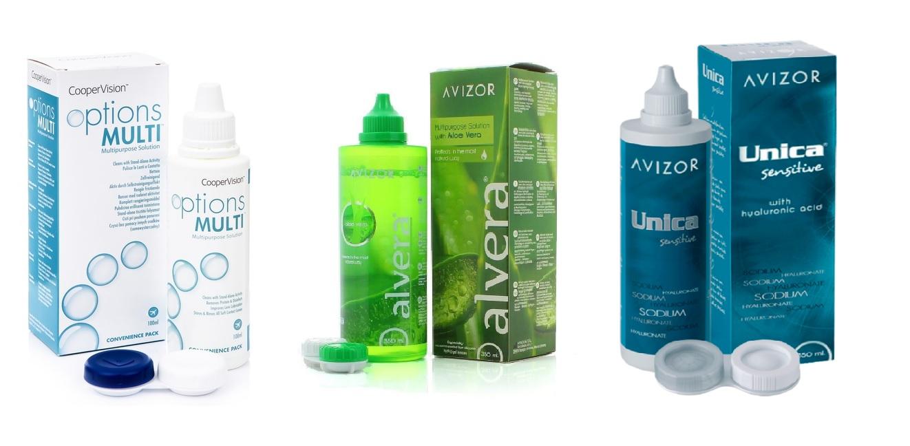 Разтвори за поддръжка на контактни лещи